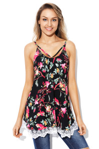 Lace Hem Black Floral Strappy Cami Top