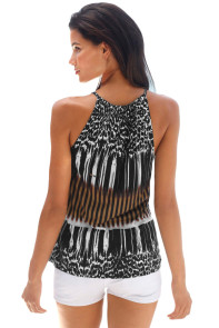 Stylish Leopard Print Keyhole Front Tank Top
