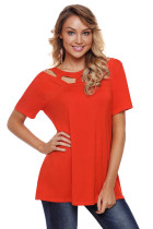 Orange Red Short Sleeves Caged High Neck Top