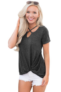 Charcoal Cross Neck Knotted Hem Blouse Top