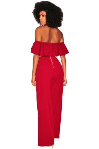 Wine Ruffle Off Shoulder Wide Leg Jumpsuit