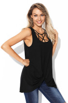 Black Caged Neck Tank Top with Front Twist