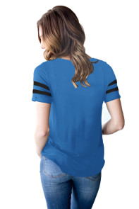Varsity Striped Short Sleeve Royal Blue V Neck T-shirt