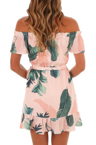 Tropical Leaf Print White Off Shoulder Summer Dress