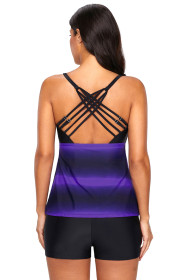 Purple Strappy Hollow-out Back Tankini
