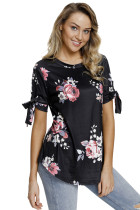 Black Floral Print Tie Detail Short Sleeve Blouse
