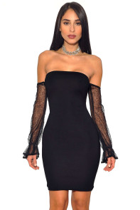 Black Strapless Mesh Off Shoulder Sleeve Stretch Bandage Dress
