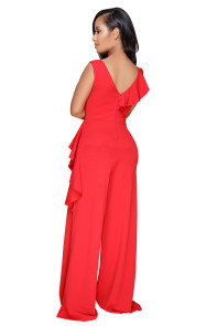 Red Asymmetric Ruffle Trim Wide Leg Jumpsuit