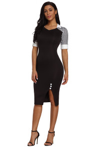 Houndstooth Patchwork Black Office Sheath Dress