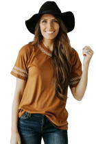 Brown Embroidery Knit Top