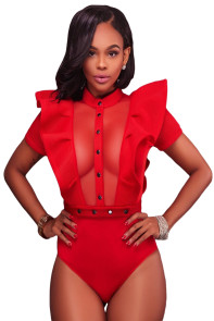 Red Ruffle Buttoned Bodysuit