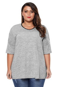 Grey Plus Size Lace Up Cold Shoulder Top with Flute Sleeves