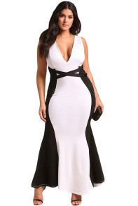 Plus Size Color Block Cross Strap Maxi Gown