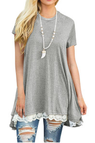 Gray Short Sleeve O-neck Lace Stitching Tops Tunic