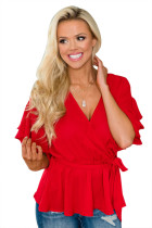 Red Double Ruffle Surplice Wrapped Tie Top