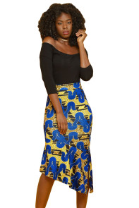Blue Yellow African Print Stretch Pencil Midi Skirt