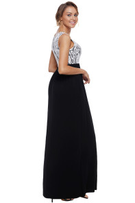 Floral Lace Top Black Sleeveless Maxi Dress