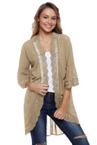 Mocha 3/4 Ruffle Sleeve Cardigan with Sheer Lace Details