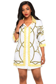 White Gold Printed Shirt Dress