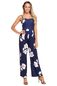 Navy Blue Floral Print Wide Leg Jumpsuit