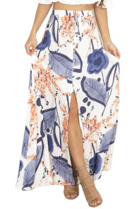 Summer Holiday Blue Floral Maxi Skirt with Slit