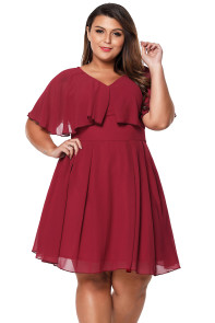 Wine Plus Size Floaty Skater Dress