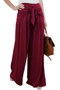 Walk The Walk Tie Palazzo Pants in Wine
