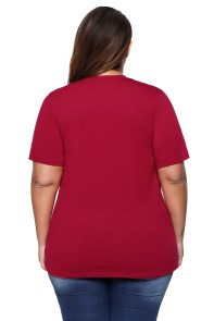 Burgundy Scallop Lace Yoke Plus Size T-shirt