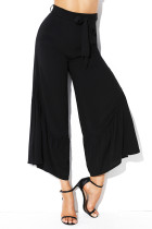Black High Waist Side Ruffle Palazzo Pants