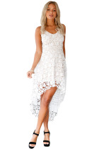 White Hollow Lace Nude Illusion Hi-low Party Dress
