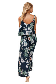 Navy Chic Summer Boho Plant Print Maxi Dress