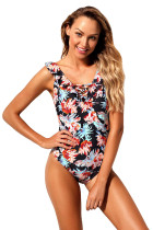 Ruffle Shoulder Straps Floral One Piece Swimsuit