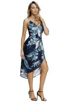 Deep V Neck Green Leaves Print Boho Dress in Navy