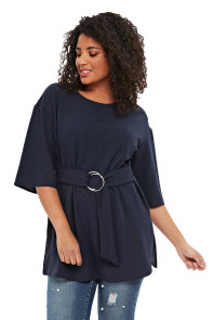 Navy Blue D-Ring Plus Size Top for Women