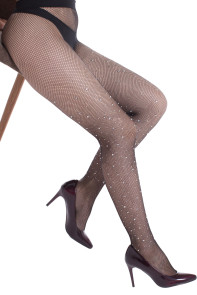 Scattered Rhinestone Fishnet Tights with Shadow