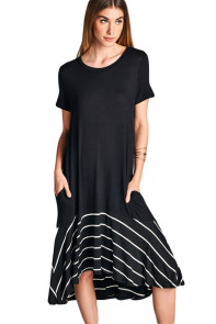 Black Hi-low Striped Ruffle Hem Midi Dress