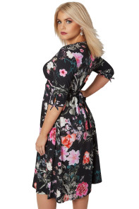 Black 3/4 Length Tie Sleeves Floral Jersey Wrap Dress