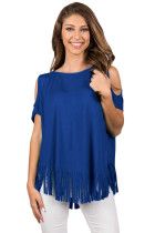 Navy Blue Fringe Hemline Cold Shoulder Top