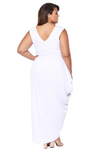 White Partying Draping Maxi Length Plus Size Dress