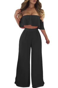 Black Ruffle Crop Top & Wide Leg Pants Set
