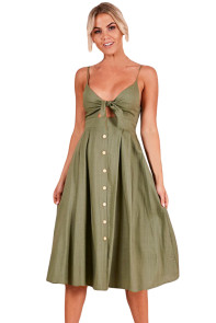 Army Green Sexy Backless Tie Front Button Skirt Midi Dress