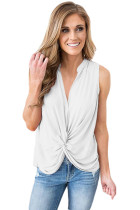 White Sleeveless Knotted Top