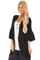 Black 3/4 Ruffle Sleeve Cardigan with Sheer Lace Details