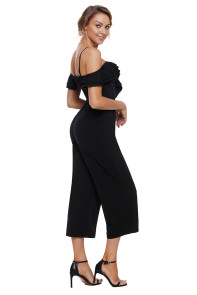 Black Ruffle Neckline Jumpsuit with Pockets