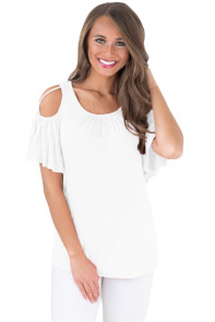 White Crisscross Cold Shoulder Ruffle Sleeve Top