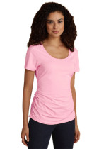 Soft Pink Short Sleeve Ruched Tee