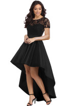 Black Lace Bodice Elegant Hi-low Party Dress