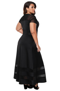 Black Organza Trim Plus Size Cocktail Dresses