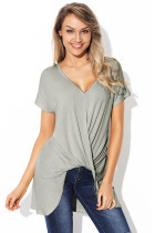 Gray Short Sleeve Hi Lo Top with Twist Front Detail