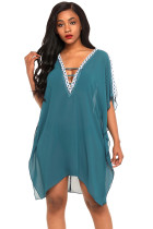 Delicate Embroidery Slate Blue Cold Shoulder Sheer Mesh Cover Up